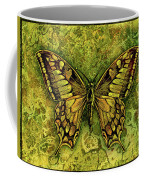 Butterfly In Greens-amber Collection  Coffee Mug