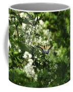 Butterfly In Muted Green Background Coffee Mug