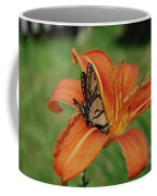 Butterfly On A Blooming Orange Daylily Flower Blossom Coffee Mug