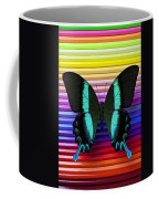 Butterfly On Colored Pencils Coffee Mug