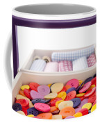 Buttons And Textile Fabrics In A Sewing Box Coffee Mug