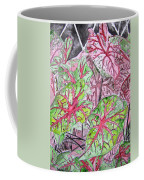 Caladiums Tropical Plant Art Coffee Mug