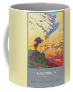 California - America's Vacation Land And New York Central Lines - Retro Travel Poster - Vintage Coffee Mug