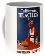 California Beaches - Girl On A Beach - Retro Poster - Vintage Advertising Poster Coffee Mug