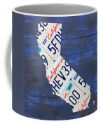 California License Plate Map On Blue Coffee Mug by Design Turnpike