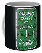 California Route 1 Pacific Coast Highway Sign Recycled Vintage License Plate Art Coffee Mug