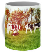 Calves In Spring Field Coffee Mug