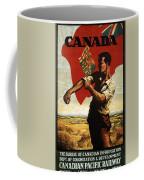 Canada - Canadian Pacific Railway - Flag - Retro Travel Poster - Vintage Poster Coffee Mug