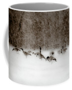 Canada Geese Feeding In Winter Coffee Mug