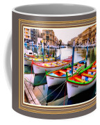 Canal Boats On A Canal In Venice L A S With Decorative Ornate Printed Frame.  Coffee Mug
