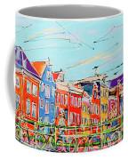 Canal Of Amsterdam, Bridge And Westerkerk Coffee Mug