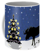 Candlelit Christmas Tree And Moose In The Snow Coffee Mug