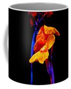 Canna Lilies On Black With Blue Coffee Mug