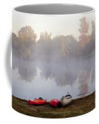 Canoes By A Foggy Lake In Autumn Coffee Mug