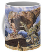 Carcharodontosaurus Guards Its Kill Coffee Mug by Mark Hallett