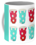 Card With Red And Blue Paper Disposable Glass In Polka Dot Isolated On White With Copy Space Coffee Mug