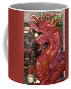 Carved Wood Dragon With Ball In Mouth Coffee Mug