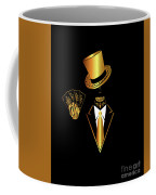 Casino Logo With Skull Icon And Cards, Gold And Black Color Coffee Mug