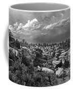 Castlewood Canyon And Storm - Black And White Coffee Mug