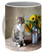 Cat And Sunflowers Coffee Mug by Nailia Schwarz