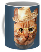 Cat Kitty Kitten In Clothes Yellow Glasses Straw Coffee Mug