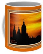 Cathedral Silhouette Sunset Fantasy L A With Decorative Ornate Printed Frame. Coffee Mug