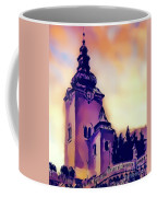 Catholic Church Building, Architectural Dominant Of The City, Graphic From Painting. Coffee Mug