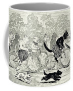 Cats In A Bicycle Race, Hyde Park, 1896 Coffee Mug