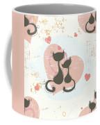 Cats In Love, Romantic Decorative Seamless Pattern Coffee Mug