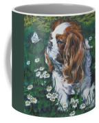 Cavalier King Charles Spaniel With Butterfly Coffee Mug by Lee Ann Shepard