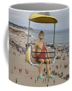 Caveman Above Beach Santa Cruz Boardwalk Coffee Mug