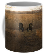 Chairs Overlook A Scenic Pasture Coffee Mug