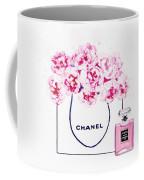 Chanel Bag With Pink Peonys Coffee Mug