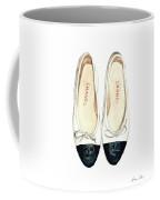 Chanel Ballet Flats Classic Watercolor Fashion Illustration Coco Quotes Vintage Paris Black White Coffee Mug by Laura Row