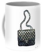 Chanel Quilted Handbag Classic Watercolor Fashion Illustration Coco Quotes Coffee Mug by Laura Row