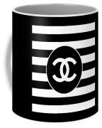 Chanel - Stripe Pattern - Black And White 2 - Fashion And Lifestyle Coffee Mug