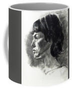 Charcoal Portrait Of A Pensive Young Woman In Profile Coffee Mug
