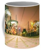 Charlotte City Skyline Night Scene With Light Rail System Lynx T Coffee Mug