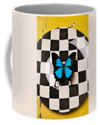 Checker Plate And Blue Butterfly Coffee Mug