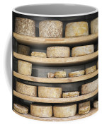 Cheese Wheels On Wooden Shelves In The Cheese Store Coffee Mug