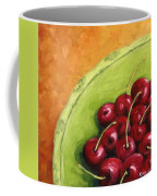Cherries Green Plate Coffee Mug