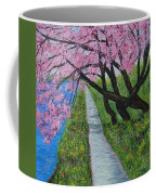 Cherry Trees- Pink Blossoms- Landscape Painting Coffee Mug