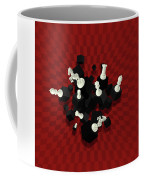 Chessboard And 3d Chess Pieces Composition On Red Coffee Mug