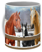 Chestnut Appaloosa Palomino Pinto Black Foal Horses In Snow Coffee Mug by Crista Forest
