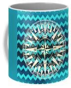 Chevron Print Compass Blue Coffee Mug