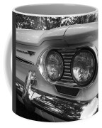 Chevy Corvair Headights And Bumper Black And White Coffee Mug