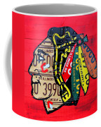 Chicago Blackhawks Hockey Team Vintage Logo Made From Old Recycled Illinois License Plates Red Coffee Mug