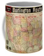 Chicago, Burlington Route System Map, 1892. Coffee Mug