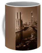 Chicago River B And W Coffee Mug