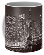 Chicago River Panorama B W Coffee Mug
